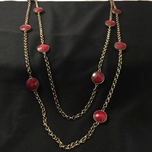 Deep red gold double strand necklace